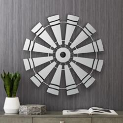 "Windmill 27 1/2"" Round Black and White Metal Wall Art"