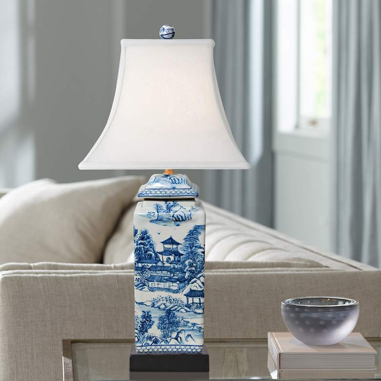 Ari Chinoiserie Blue and White Square Jar Table