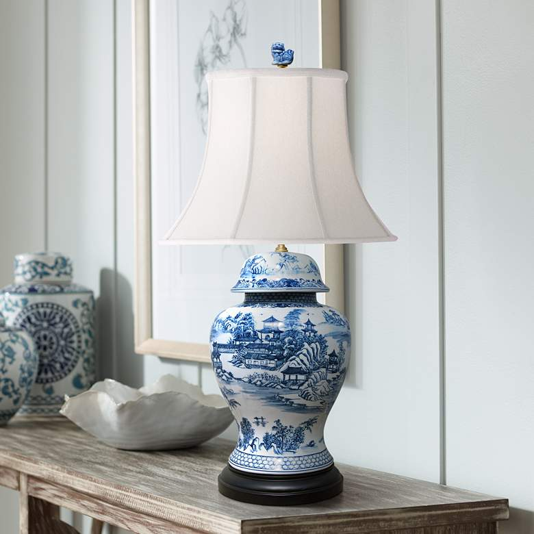 Dara Blue and White Chinoiserie Temple Jar Table