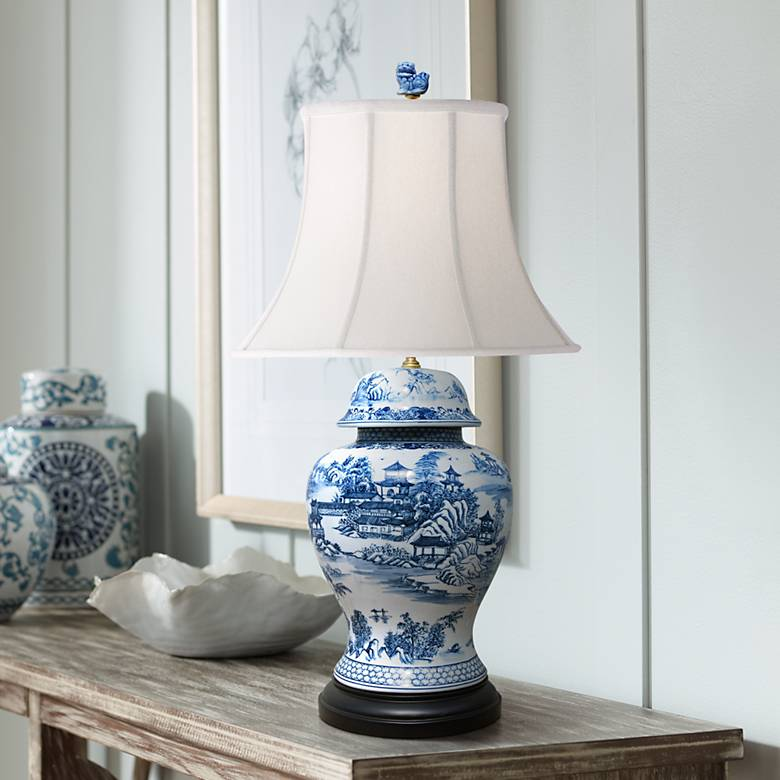Dara Blue And White Chinoiserie Temple Jar Table Lamp 61y32 Lamps Plus