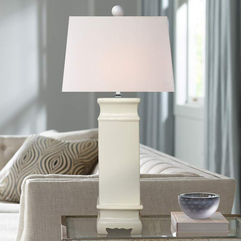 Ari White Porcelain Square Jar Table Lamp