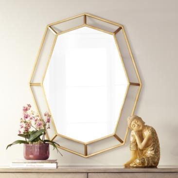 "Karina Gold 31 3/4"" x 41"" Oval Octagon Wall Mirror"