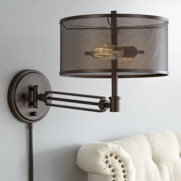 Kevin Bronze Metal Swing Arm Wall Lamp