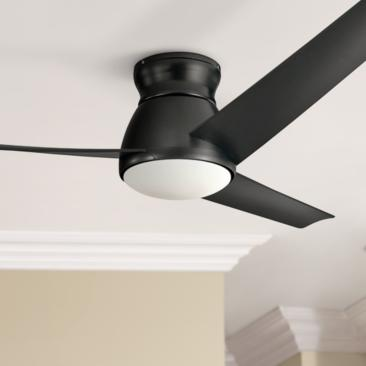 "60"" Kichler Eris Satin Black LED Hugger Ceiling Fan"