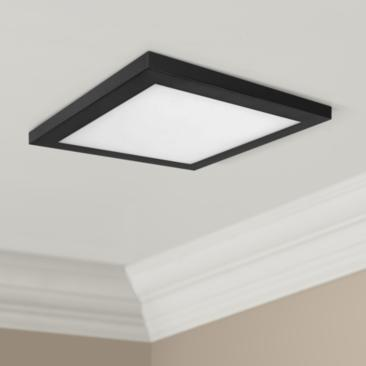"Platter 13"" Square Black LED Outdoor Ceiling Light"