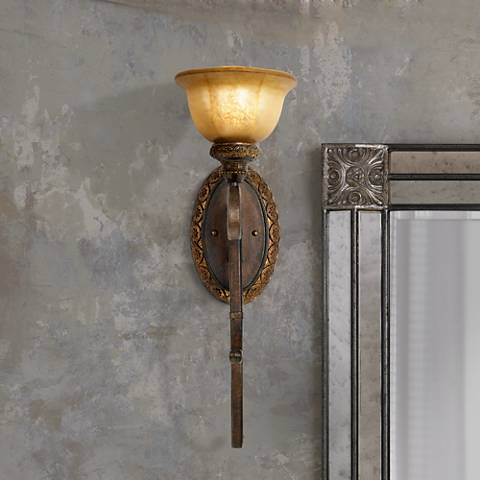"Illuminati Collection 23"" High Bronze Wall Sconce"