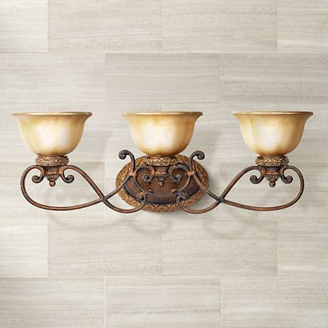 "Illuminati Collection 31"" Wide Bronze Bathroom Light Fixture"
