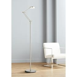 Xenos Satin Nickel Adjustable LED Floor Lamp