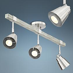 Pro Track Copalis 3-Light Nickel and Wood Track Fixture