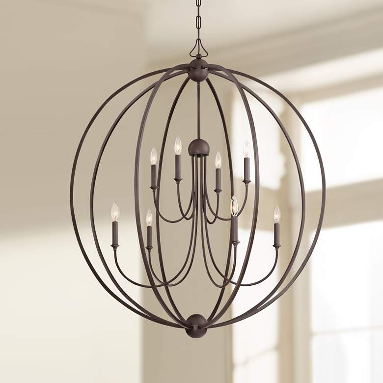 "Crystorama Sylvan 40""W Dark Bronze 8-Light Orb Chandelier"