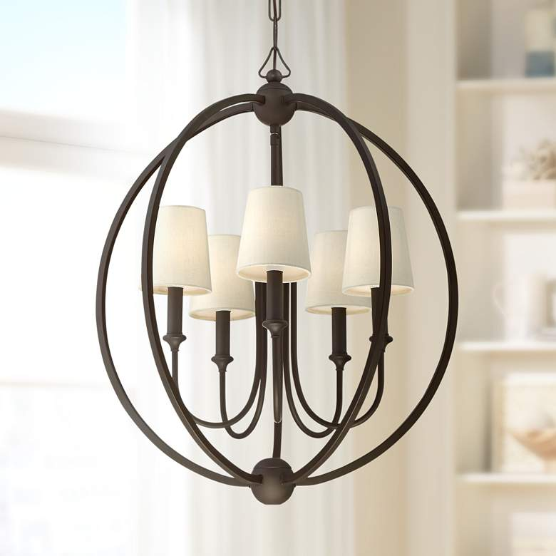 "Crystorama Sylvan 22 1/2""W Dark Bronze 5-Light Chandelier"