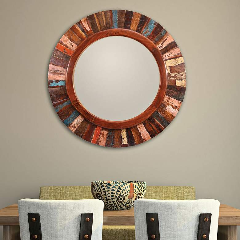 Kenroy Home Randy Old Paint 36 Round Wall Mirror