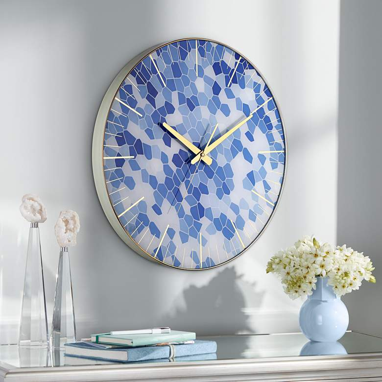 "Tahlia Geometric Blue 17 3/4"" Round Wall Clock"