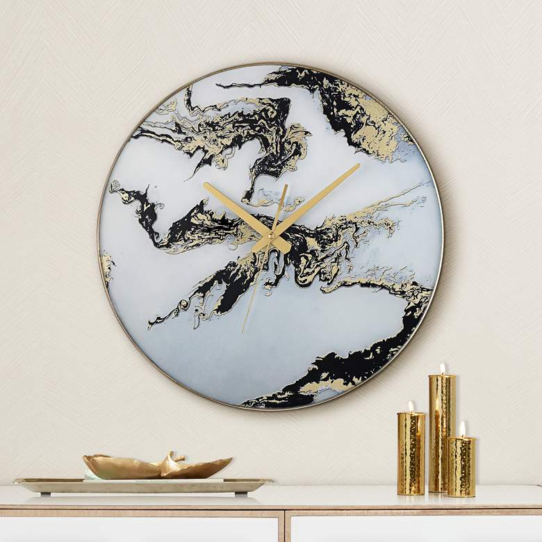 "Fionn Black, White, and Gold 17 3/4"" Round Marble Wall Clock"