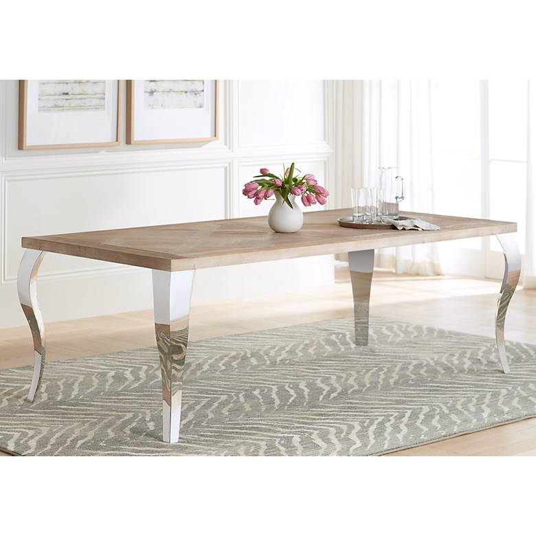 "Carlisle 88"" Wide Stainless Steel and Wood Dining Table"