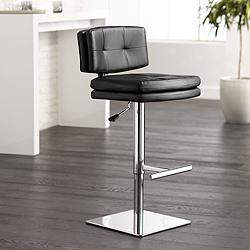 Davis Black Faux Leather Adjustable Swivel Bar Stool