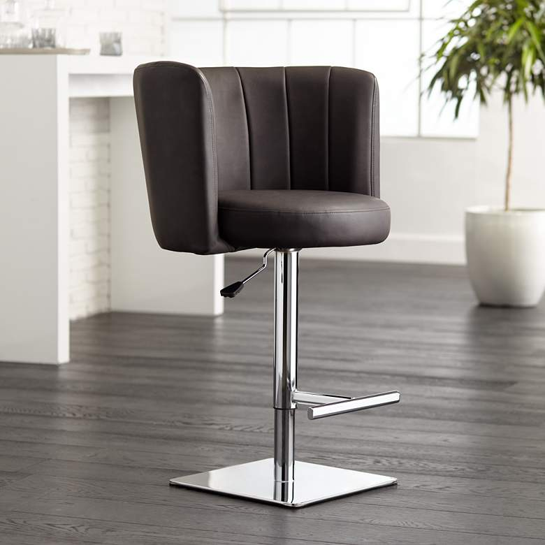 Triton Brown Faux Leather Swivel Adjustable Bar Stool