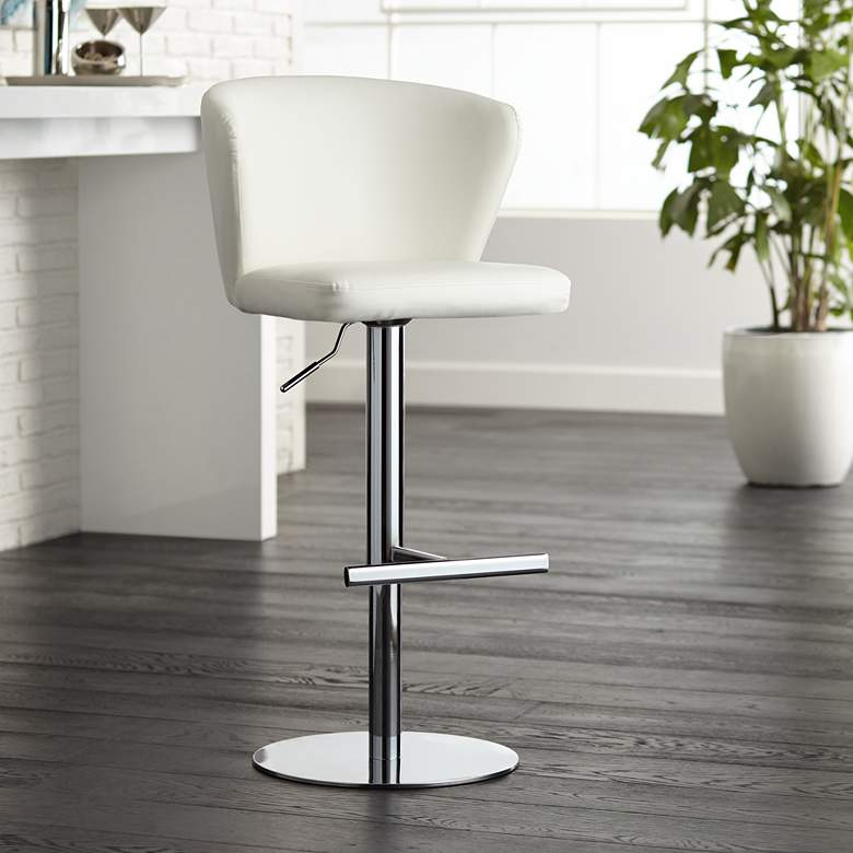 Cassidy White Faux Leather Adjustable Swivel Bar Stool