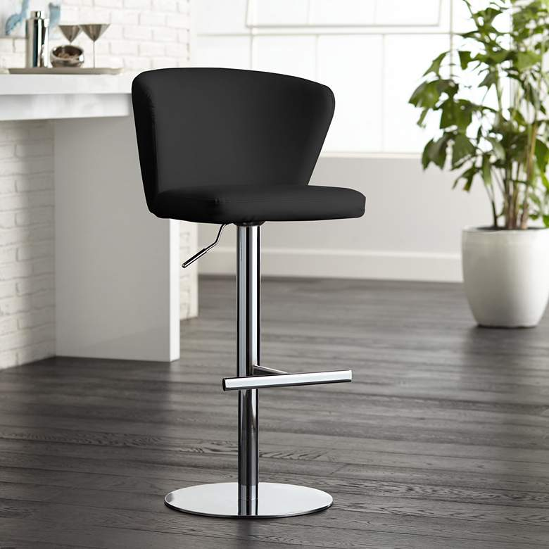 Cassidy Black Faux Leather Adjustable Swivel Bar Stool