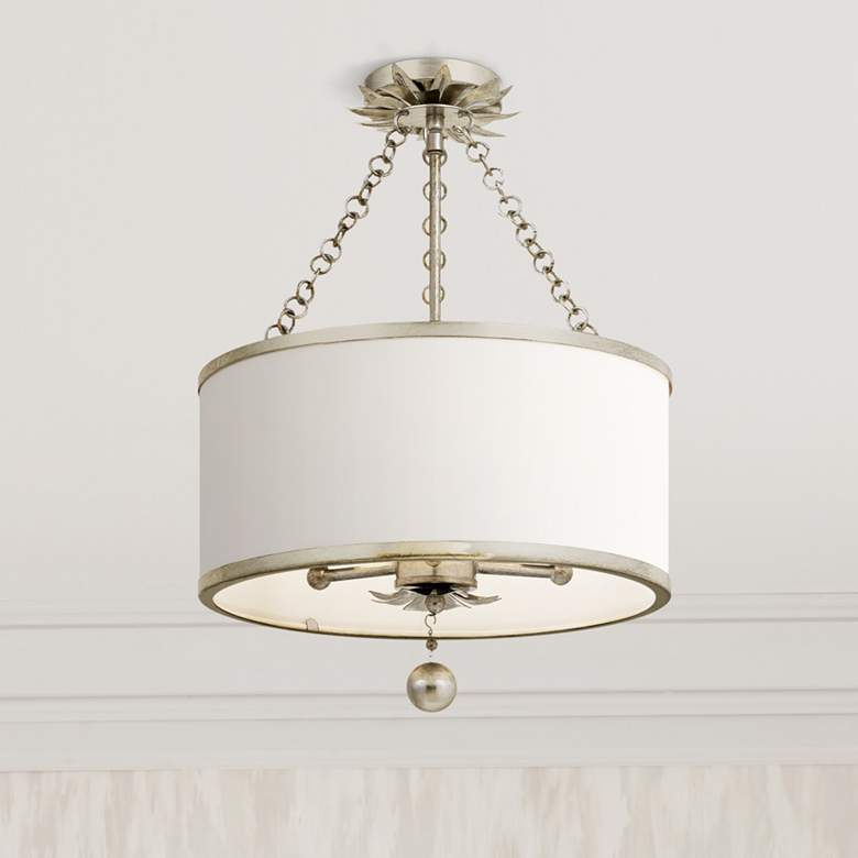"Crystorama Broche 14"" Wide Antique Silver Drum Ceiling Light"