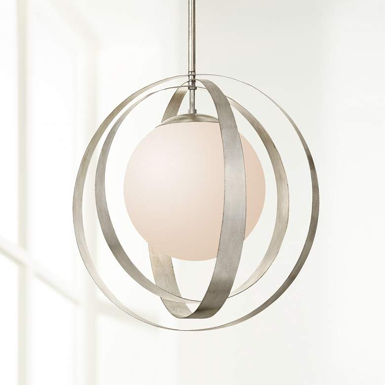"Crystorama Arlo 16"" Wide Antique Silver Orb Pendant Light"