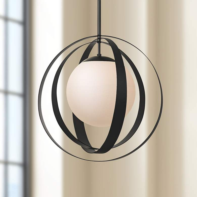 "Crystorama Arlo 21"" Wide Matte Black Orb Pendant Light"