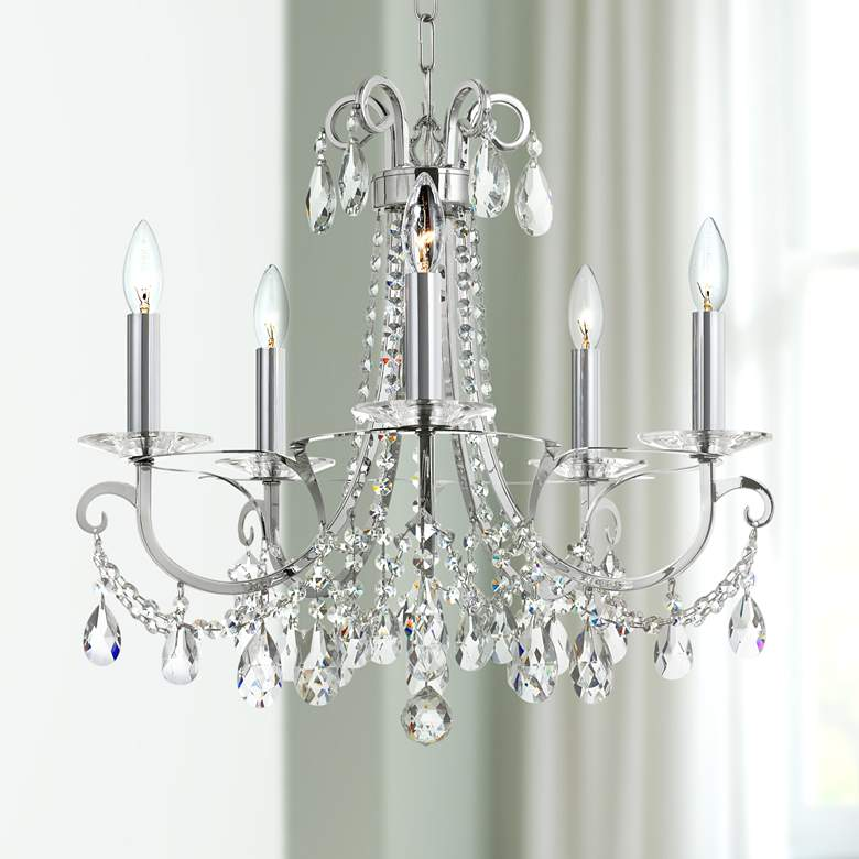 "Othello 20 1/2""W Polished Chrome 5-Light Crystal Chandelier"