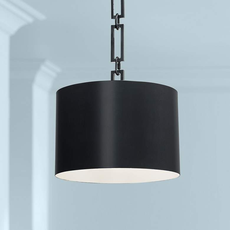 "Crystorama Alston 12"" Wide Matte Black Mini Pendant"