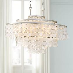 "Crystorama Brielle 30"" Wide Antique Silver Island Chandelier"