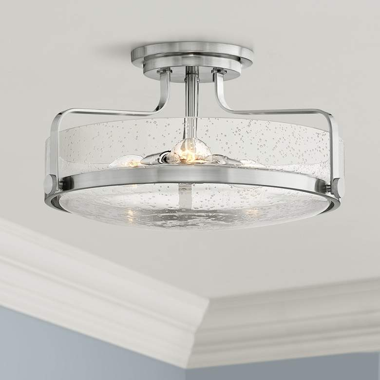 "Hinkley Harper 18"" Wide Brushed Nickel 3-Light Ceiling"