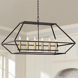 "Ivon 35"" Wide Gun Metal 6-Lt Kitchen Island Light Chandelier"