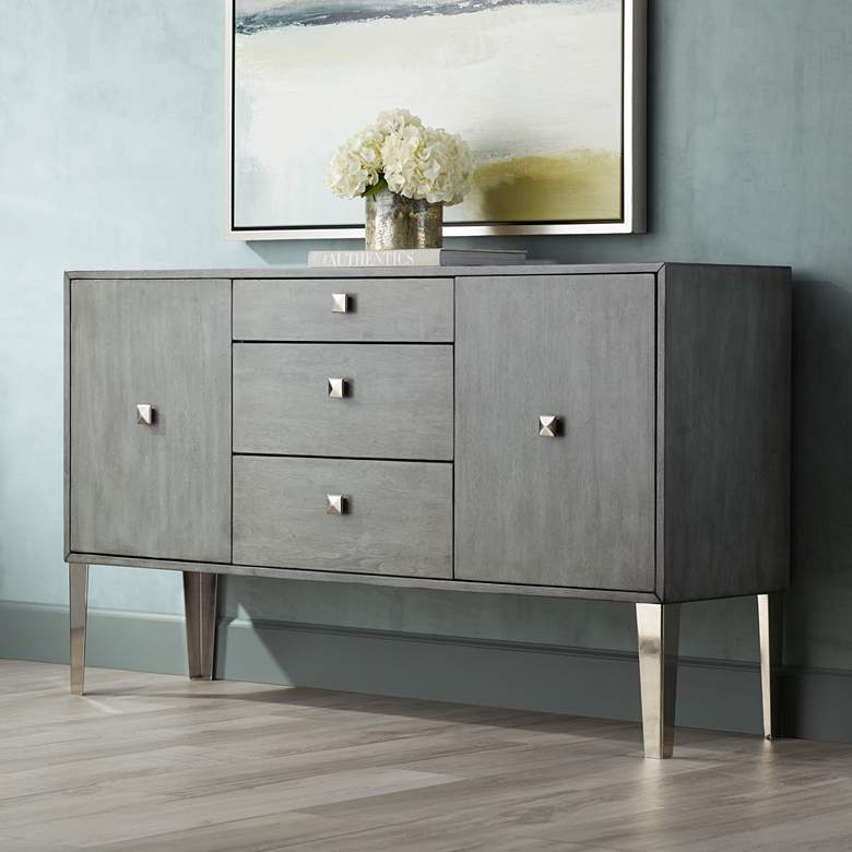 "Nadine 60 1/4"" Wide 2-Door 3-Drawer Modern Credenza"