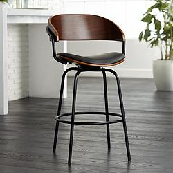 "Larsen 26"" High Black and Walnut Swivel Counter Stool"