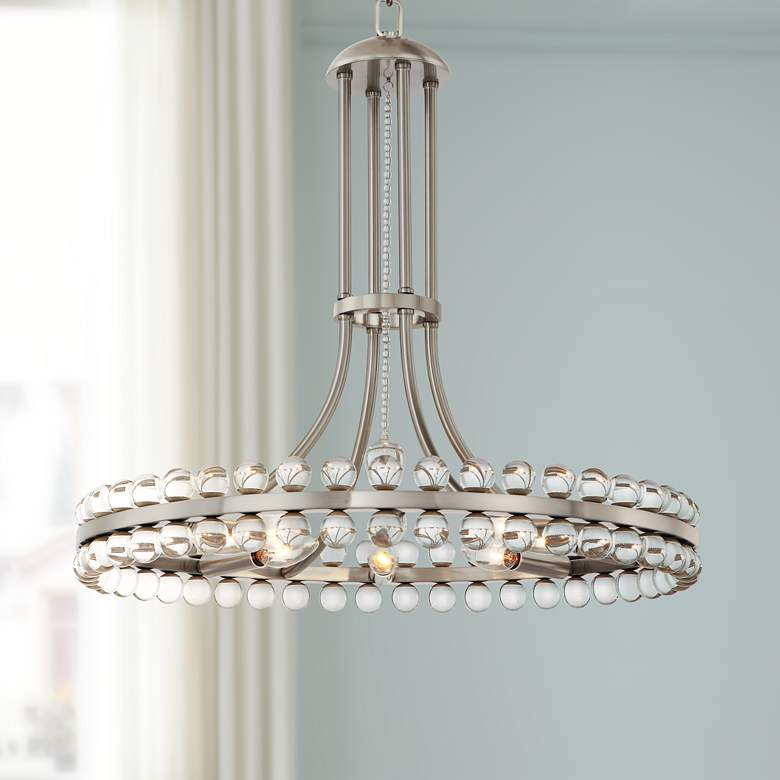 "Crystorama Clover 22 1/2"" Wide Brushed Nickel Chandelier"