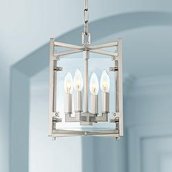"Danbury 9"" Wide Brushed Nickel 4-Light Mini Chandelier"