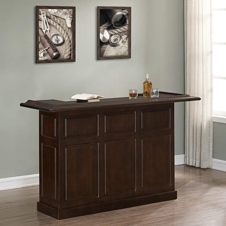 "Lexington 72"" Wide Sierra Wood Finish Home Bar"