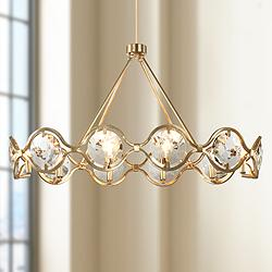 "Quincy 40"" Wide Distressed Twilight 10-Light Chandelier"