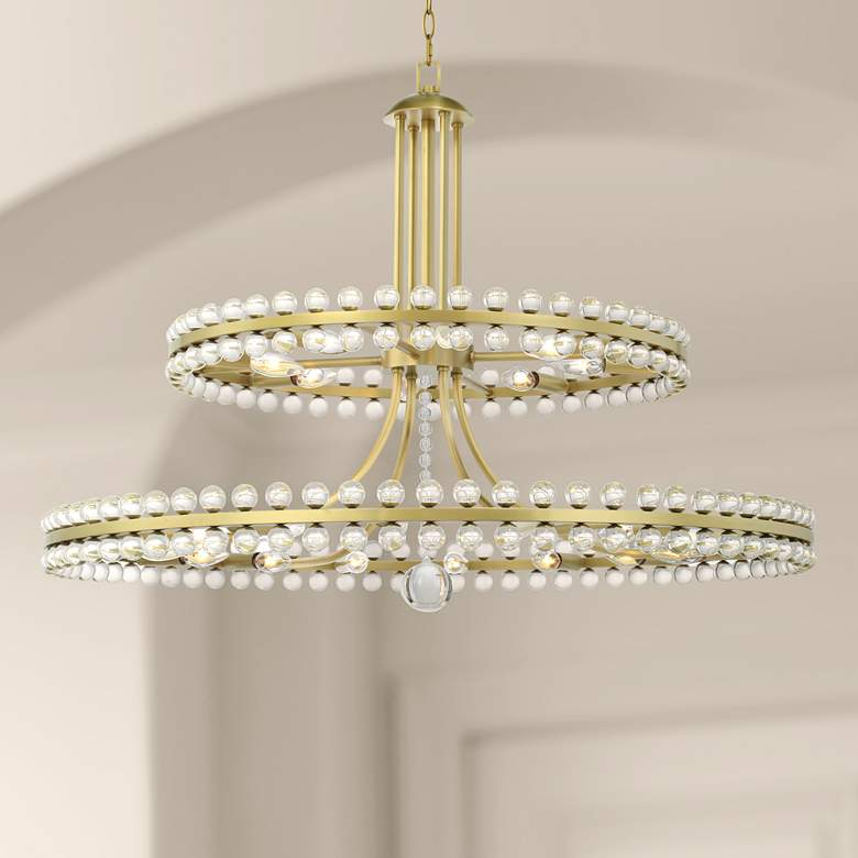 "Crystorama Clover 40"" Wide Aged Brass 2-Tier Chandelier"