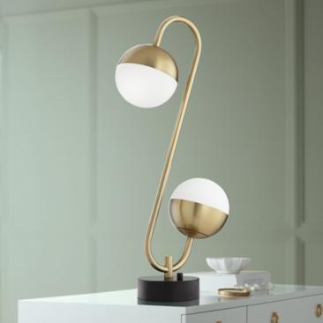 Possini Euro Kara Brass 2-Light Globe LED Table Lamp