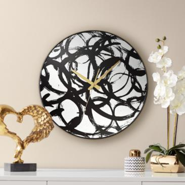 "Allana Black Print 17 3/4"" Round Mirrored Wall Clock"