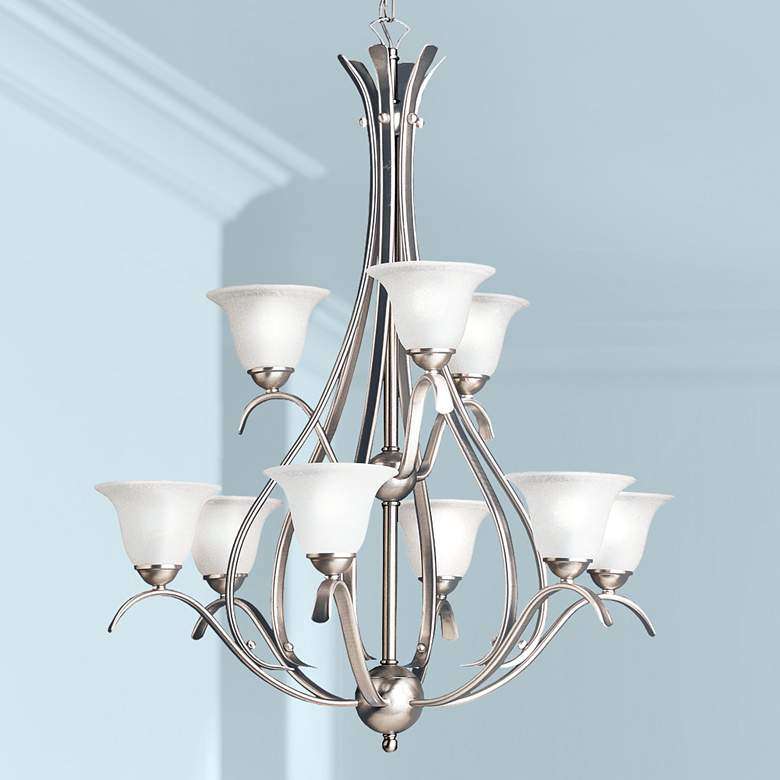 "Dover Collection 29""W Brushed Nickel Nine Light Chandelier"