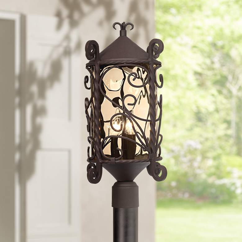 "Casa Seville 23 1/2"" High Iron Scroll Outdoor Post Light"
