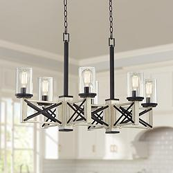 "McBride 39 1/2""W Rustic LED Kitchen Island Light Chandelier"