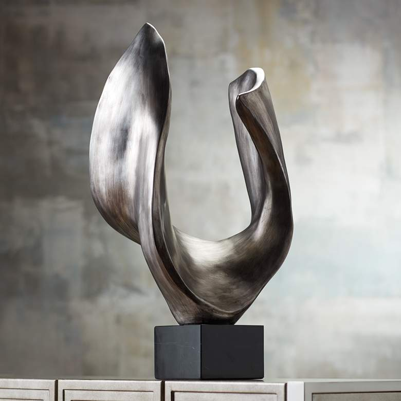 "Hip Bone 27"" High Silver Abstract Modern Sculpture"