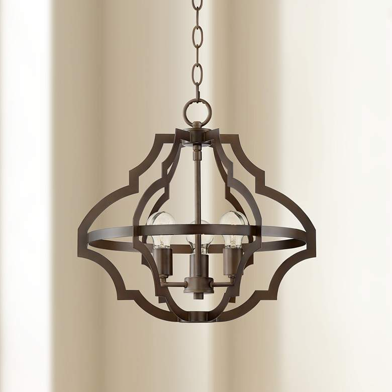 "Lodi 19""W Oil-Rubbed Bronze 3-Light Metal Chandelier"