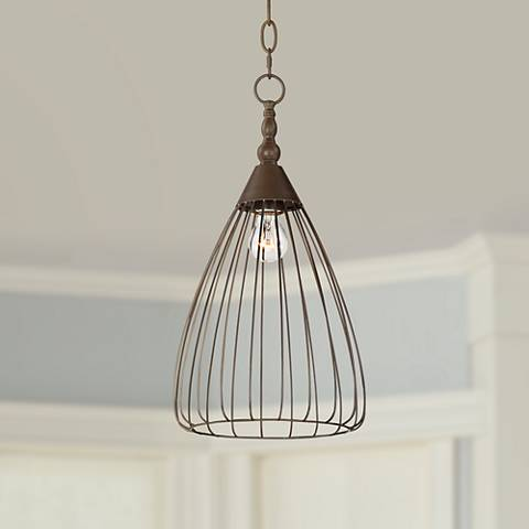 "Keiser 10"" Wide Oil-Rubbed Bronze Metal Wire Pendant"