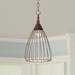 "Keiser 9"" Wide Oil-Rubbed Bronze Metal Wire Pendant"