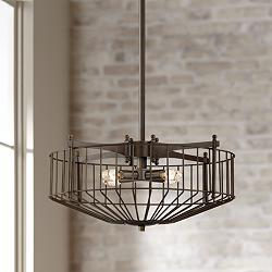 "Morris 20 1/2""W Oil-Rubbed Bronze 4-Light Metal Wire Pendant"