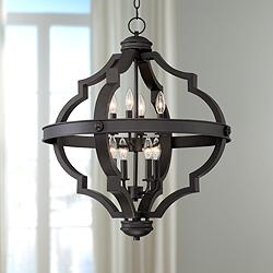 "Sabine 25 1/4"" Wide Bronze Metal 8-Light Pendant Chandelier"