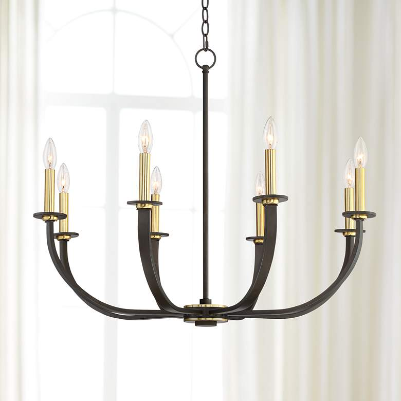 "Emmaline 32 1/2""W Bronze and Warm Gold 8-Light"